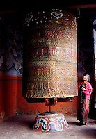 Prayer wheel at Wangduephodrang Dzong Buddhist monastery and fortress in Bhutan.