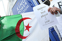 Two fans hold up an Algerian flag in support of Riyad Mahrez before the PFA Awards and the Barclays Premier League match between Leicester City and Swansea City played at The King Power Stadium, Leicester on April 24th 2016