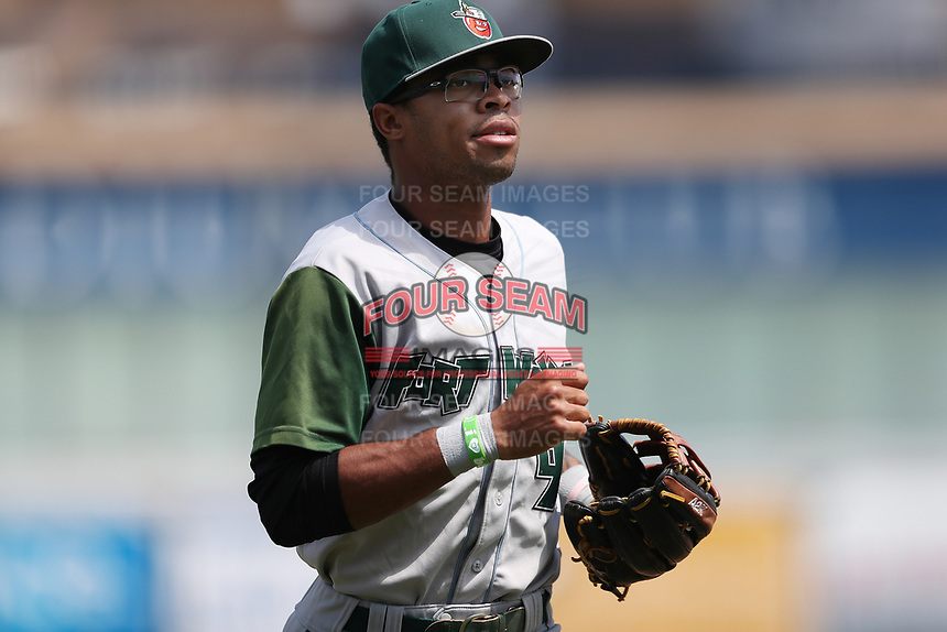 Fort Wayne TinCaps outfielder Buddy Reed (9) in action against the West Michigan Michigan Whitecaps during the Midwest League baseball game on April 26, 2017 at Fifth Third Ballpark in Comstock Park, Michigan. West Michigan defeated Fort Wayne 8-2. (Andrew Woolley/Four Seam Images)