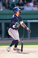 Catcher Korey Lee (5) of the Asheville Tourists in a game against the Greenville Drive on Sunday, June 6, 2021, at Fluor Field at the West End in Greenville, South Carolina. (Tom Priddy/Four Seam Images)