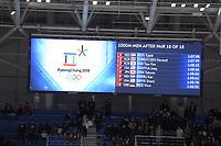 OLYMPIC GAMES: PYEONGCHANG: 23-02-2018, Gangneung Oval, Long Track, Final results 1000m Men, ©photo Martin de Jong
