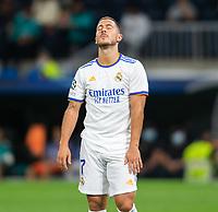 28th September 2021; Estadio Santiago Bernabeu, Madrid, Spain; Men's Champions League, Real Madrid CF versus FC Sheriff Tiraspol; Hazard frustrated as an attempt on goal misses