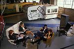 Network 7 Presenters Meeting East London studio warehouse. ( L-R ) Jane Hewland, Janet Street Porter, Magenta Devine , real name Kim Taylor, Jaswinder Bancil  Circa 1987