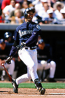 Raul Ibanez of the Seattle Mariners during a Spring Training game  at the Peoria Sports Complex circa 1999 in Anaheim, California. (Larry Goren/Four Seam Images)