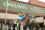 HOT SPRINGS, AR - JANUARY 18: 2015 Arkansas Derby and Triple Crown winner, American Pharaoh statue in front of Oaklawn Park on January 18, 2016 in Hot Springs, Arkansas. (Photo by Justin Manning)