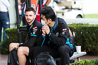 13th March 2020; Melbourne Grand Prix Circuit, Melbourne, Victoria, Australia; Formula One, Australian Grand Prix, Practice Day; Williams mechanic wears a mask while waiting to enter the pits