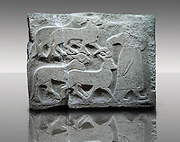 Picture & image of a Neo-Hittite orthostat showing Sacrificial animals being led from Alacahöyük, Alaca Çorum Province, Turkey. Museum of Anatolian Civilisations, Ankara. Old Bronze age Chalcolithic Period.