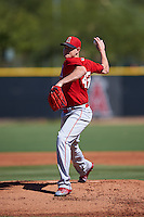 Los Angeles Angels pitcher Garrett Richards (43) delivers a warmup pitch during an Instructional League game against the San Francisco Giants on October 13, 2016 at Tempe Diablo Stadium Complex in Tempe, Arizona.  Richards went four innings in his final of three rehab games after an elbow injury where he opted for stem-cell therapy instead of Tommy John surgery.  (Mike Janes/Four Seam Images)