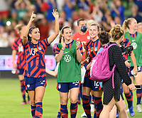AUSTIN, TX - JUNE 16: Alex Morgan #13 of the United States and Andi Sullivan #25 applaud the fans after a game between Nigeria and USWNT at Q2 Stadium on June 16, 2021 in Austin, Texas.
