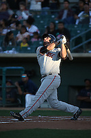 Dylan Davis (43) of the San Jose Giants bats against the Lancaster JetHawks at The Hanger on August 13, 2016 in Lancaster, California. Lancaster defeated San Jose, 16-2. (Larry Goren/Four Seam Images)