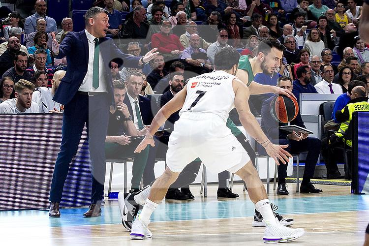 Zalgiris' coach Sarunas Jasikevicius during Euroligue match between Real Madrid and Zalgiris Kaunas at Wizink Center in Madrid, Spain. April 4, 2019.  (ALTERPHOTOS/Alconada)