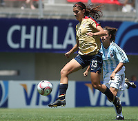 Chile, Chillan:Usa forward Alex Morgan goes for the ball along with Noelia Spindola during the football second match of the Fifa U-20 Women´s World Cup the at Nelson Oyarzún stadium in Chillán , on November 22 2008. Photo by Grosnia/ISIphotos.com
