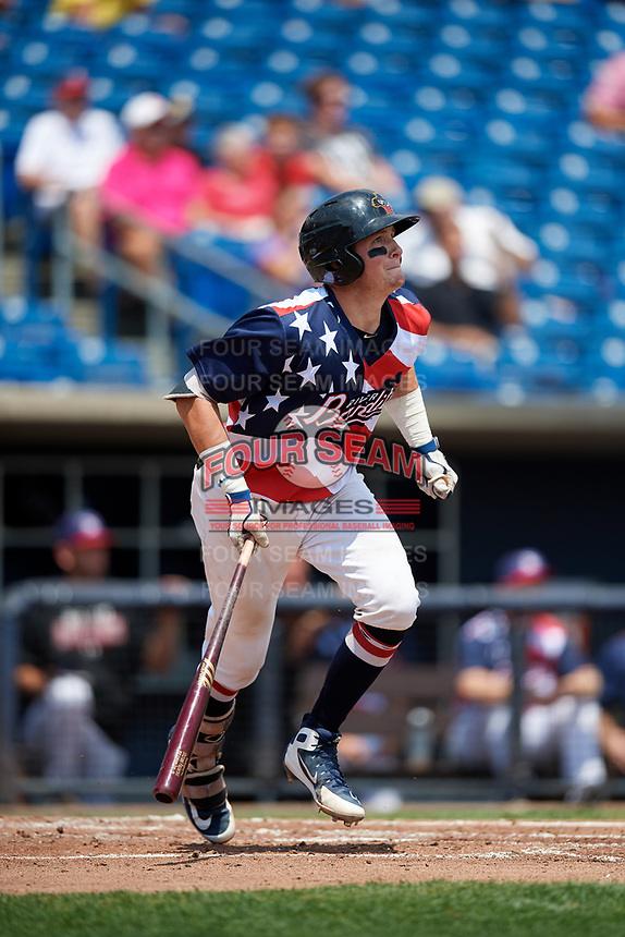 Quad Cities River Bandits catcher Michael Papierski (9) follows through on a swing during a game against the West Michigan Whitecaps on July 23, 2018 at Modern Woodmen Park in Davenport, Iowa.  Quad Cities defeated West Michigan 7-4.  (Mike Janes/Four Seam Images)