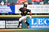 Pittsburgh Pirates Connor Joe (83) runs the bases during a Spring Training game against the Tampa Bay Rays on March 10, 2017 at LECOM Park in Bradenton, Florida.  Pittsburgh defeated New York 4-1.  (Mike Janes/Four Seam Images)