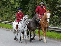 "Pictured: Byron John (R) with a horse owned by Bradley rides toward Margam Crematorium, Wales, UK. Monday 08 October 218<br /> Re: A grieving father will mourners on horseback at the funeral of his ""wonderful"" son who killed himself after being bullied at school.<br /> Talented young horse rider Bradley John, 14, was found hanged in the school toilets by his younger sister Danielle.<br /> Their father, farmer Byron John, 53, asked the local riding community to wear their smart hunting gear at Bradley's funeral.<br /> Police are investigating Bradley's death at the 500-pupils St John Lloyd Roman Catholic school in Llanelli, South Wales.<br /> Bradley's family claim he had been bullied for two years after being diagnosed with Attention Deficit Hyperactivity Disorder.<br /> He went missing during lessons and was found in the toilet cubicle by his sister Danielle, 12."