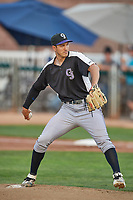 Grand Junction Rockies starting pitcher Skyler Sylvester (34) delivers a pitch to the plate against the Ogden Raptors at Lindquist Field on June 5, 2021 in Ogden, Utah. The Raptors defeated the Rockies 18-1. (Stephen Smith/Four Seam Images)
