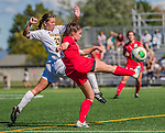 29 September 2013: Stony Brook University Seawolves Midfielder Tessa Devereaux, a Sophomore from Fayetteville, NY, battles University of Vermont Catamount Midfielder CC Greer, a Sophomore from Massapequa, NY, during game action at Virtue Field in Burlington, Vermont. The Lady Seawolves defeated the Catamounts 2-1 in America East play. Mandatory Credit: Ed Wolfstein Photo *** RAW (NEF) Image File Available ***
