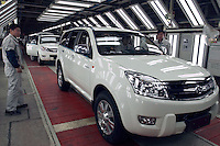 Assembly line of Hover CUV, a new exportation type of Baoding Great Wall (Changcheng) Automobile, one of China's largest producers of pickup trucks and SUVs. Changcheng exported 10,162 units vehicles in the first 9 months of 2005. The company is listed on the Hong Kong Stock Exchange.