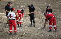 Pictured: Forensic officers and Hellenic Red Cross volunteers search through soil in Kos, Greece. Thursday 13 October 2016<br />Re: Police teams led by South Yorkshire Police are searching for missing toddler Ben Needham on the Greek island of Kos.<br />Ben, from Sheffield, was 21 months old when he disappeared on 24 July 1991 during a family holiday.<br />Digging has begun at a new site after a fresh line of inquiry suggested he could have been crushed by a digger.