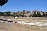 View over the Circus Maximus to the Palentine Hill in the Monti district of Rome.