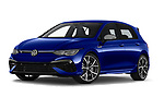 Stock pictures of low aggressive front three quarter view of 2021 Volkswagen Golf R 5 Door Hatchback Low Aggressive