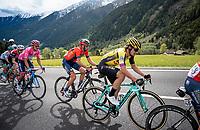 Maglia Rosa / overall leader Richard Carapaz (ECU/Movistar) following his closest GC rivals Vincenzo Nibali (ITA/Bahrain-Merida) & Primoz Roglic (SVK/Jumbo-Visma) in the final kilometers to the finish<br /> <br /> Stage 17: Commezzadura (Val di Sole) to Anterselva/Antholz (181km)<br /> 102nd Giro d'Italia 2019<br /> <br /> ©kramon