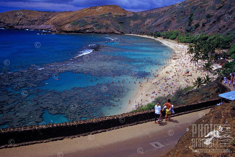 Tourists at Oahu's Hanauma Bay
