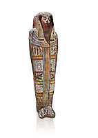 "Ancient Egyptian wooden sarcophagus - the tomb of Tagiaset, Iuefdi & Harwa circa 22nd Dynasty (943 - 716 BC.) Thebes. Egyptian Museum, Turin. white background.<br /> <br /> Coffin lid of the eldest woman buried in the tomb, probably Tagiasettahekat, wife of Padiau. The sarcophagus decoration includes representation of strips crossed over her chest typical of ""stoa coffin"" of the 22nd dynasty."