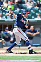 Gwinnett Braves first baseman Blake Lalli (18) swings at a pitch during a game against the Charlotte Knights at BB&T Ballpark on May 7, 2017 in Charlotte, North Carolina. The Knights defeated the Braves 7-1. (Tony Farlow/Four Seam Images)