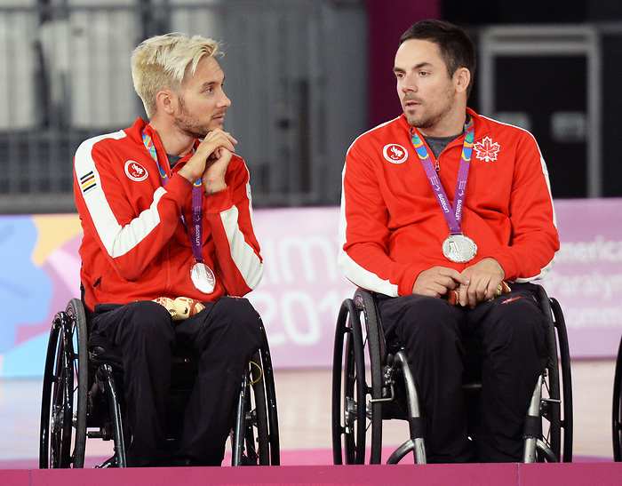 Trevor Hirschfield and Patrice Dagenais, Lima 2019 - Wheelchair Rugby // Rugby en fauteuil roulant.<br /> Canada takes on the USA in wheelchair rugby // Le Canada affronte les États-Unis au rugby en fauteuil roulant. 27/08/2019.