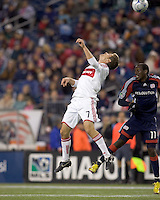 Chicago Fire midfielder Logan Pause (7) and New England Revolution forward Kheli Dube (11) battle for head ball. The New England Revolution tied the Chicago Fire, 0-0, at Gillette Stadium on October 17, 2009.