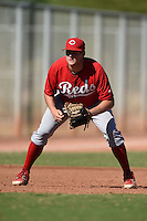 Cincinnati Reds third baseman Gavin LaValley (3) during an Instructional League game against the Kansas City Royals on October 14, 2014 at Goodyear Training Complex in Goodyear, Arizona.  (Mike Janes/Four Seam Images)