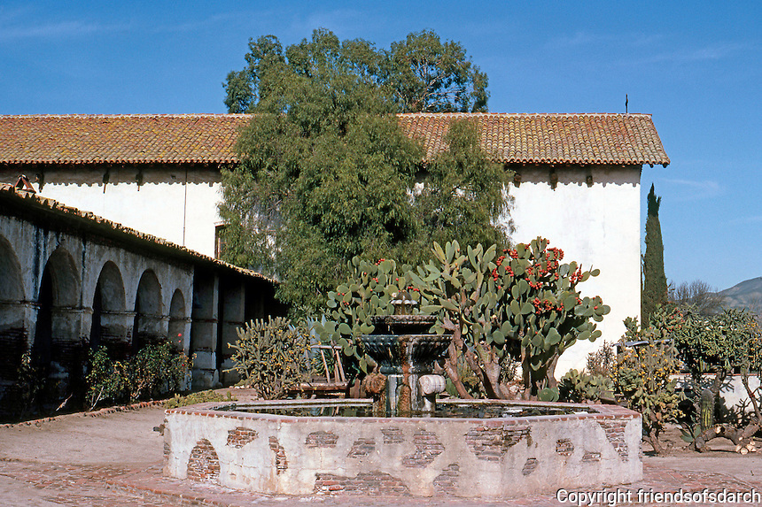 California Missions: Mission San Miguel Arcangel--Patio, Grounds. Photo '83.