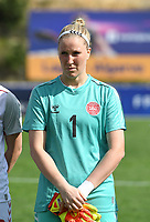 20200304  Parchal , Portugal : Danish goalkeeper Katrine Louise Abel (1) pictured during the female football game between the national teams of Denmark and Norway on the first matchday of the Algarve Cup 2020 , a prestigious friendly womensoccer tournament in Portugal , on wednesday 4 th March 2020 in Parchal , Portugal . PHOTO SPORTPIX.BE | DAVID CATRY