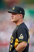 Matt Thaiss (17) of the Salt Lake Bees during the game against the Nashville Sounds at Smith's Ballpark on July 27, 2018 in Salt Lake City, Utah. The Bees defeated the Sounds 8-6. (Stephen Smith/Four Seam Images)