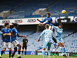 25.07.2020 Rangers v Coventry City: Connor Goldson rises to head in goal no 2 for Rangers