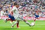 Real Madrid Gareth Bale and Atletico de Madrid Diego Godin during La Liga match between Real Madrid and Atletico de Madrid at Santiago Bernabeu Stadium in Madrid, Spain. September 29, 2018. (ALTERPHOTOS/Borja B.Hojas)