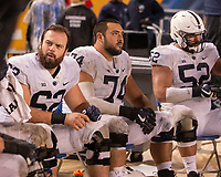 Penn State center Michael Menet (62), left guard Steven Gonzalez (74) and left tackle Ryan Bates (52) take a break. The Penn State Nittany Lions defeated the Pitt Panthers 51-6 on September 08, 2018 at Heinz Field in Pittsburgh, Pennsylvania.
