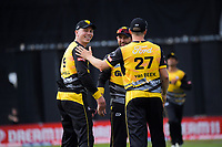 Logan Van Beek congratulates Firebirds captain Michael Bracewell on a catch during the men's Dream11 Super Smash cricket match between the Wellington Firebirds and Northern Knights at Basin Reserve in Wellington, New Zealand on Saturday, 9 January 2021. Photo: Dave Lintott / lintottphoto.co.nz