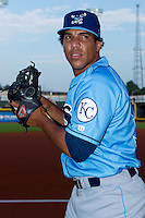 Manauris Baez #37 of the Wilmington Blue Rocks at  BB&T Ballpark August 4, 2010, in Winston-Salem, North Carolina.  Photo by Brian Westerholt / Four Seam Images