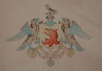"""A water colour and pencil drawing of the Munros' coat of arms with their Presbyterian motto, """"Dread God"""""""