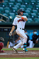 Jupiter Hammerheads Cameron Barstad (17) bats during a game against the Palm Beach Cardinals on May 11, 2021 at Roger Dean Chevrolet Stadium in Jupiter, Florida.  (Mike Janes/Four Seam Images)