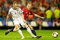 Spain's David Jimenez Silva (r) and Albania's Ansi Agolli during FIFA World Cup 2018 Qualifying Round match. October 6,2017.(ALTERPHOTOS/Acero) /NortePhoto.com /NortePhoto.com