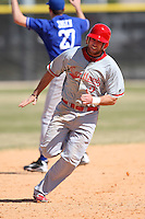March 15, 2010:  Shortstop Damon Arnold (2) of the Cortland Red Dragons in a game vs Wheaton College at Lake Myrtle Park in Auburndale, FL.  Photo By Mike Janes/Four Seam Images