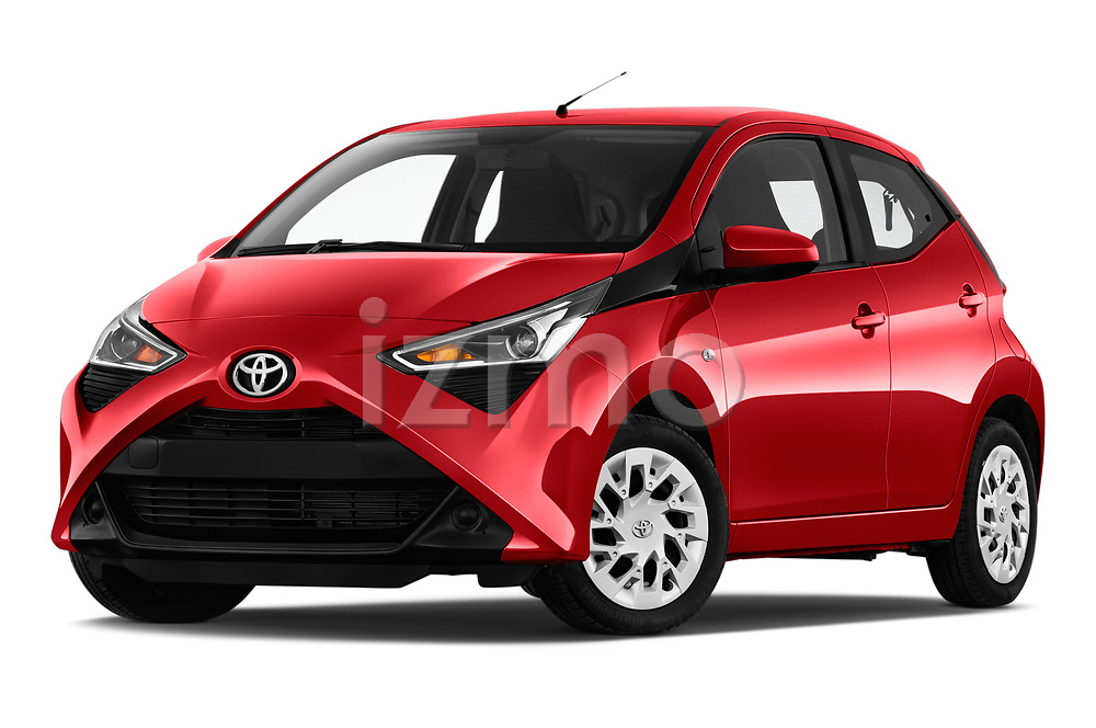 Stock pictures of low aggressive front three quarter view of 2019 Toyota Aygo x-Play 5 Door Hatchback Low Aggressive