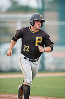 Pittsburgh Pirates left fielder Boomer Synek (22) runs to first base during a minor league Extended Spring Training intrasquad game on April 1, 2017 at Pirate City in Bradenton, Florida.  (Mike Janes/Four Seam Images)