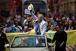 © Joel Goodman - 07973 332324 . 29/08/2015 . Manchester , UK . The actor , SIR IAN MCKELLEN , leading the 2015 Manchester Pride parade . Photo credit : Joel Goodman