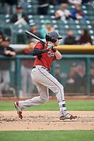 Ryder Jones (8) of the Sacramento River Cats bats against the Salt Lake Bees at Smith's Ballpark on April 19, 2018 in Salt Lake City, Utah. Salt Lake defeated Sacramento 10-7. (Stephen Smith/Four Seam Images)