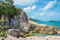 Thailand, Koh Samui Island. Grandfather/grandmother rock formations and tourist attraction.