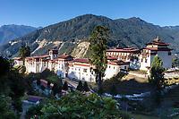 Trongsa, Bhutan.  The Trongsa Dzong (Monastery-Fortress).